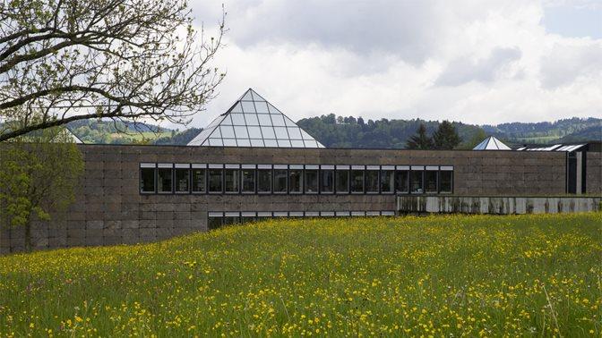 Bibliotheksgebäude im Frühling