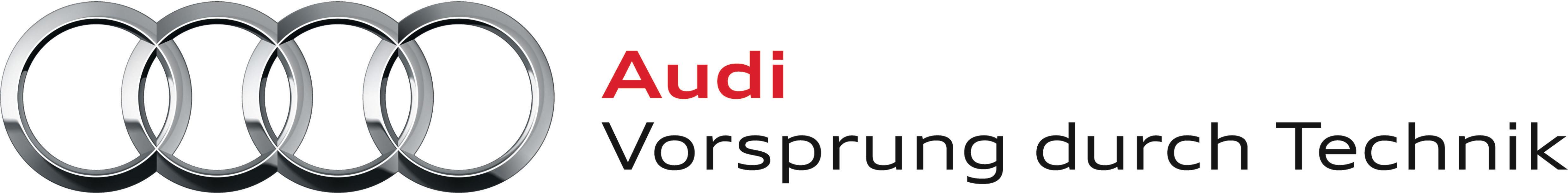 """Logo Audi AG mit Slogan """"Vorsprung durch Technik"""""""